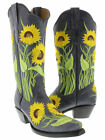 womens blue western leather cowboy cowgirl sunflower summer boots snip toe new