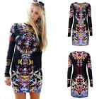 Women's Floral Flower Print Long Sleeve Tunic Bodycon Party Pencil Slim Dress