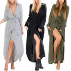 UK Women's Split Maxi Long Sleeve Loose Shirt Wrap Pocket Cardigan Coat Dress