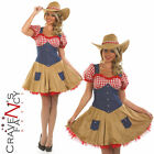 Cowgirl Costume Ladies Womens Fancy Dress Wild West Cowboy Outfit UK 8 - 18 NEW