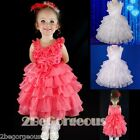 Pearl Shimmery Organza Tiered Dress Wedding Flower Girl Party Size 2-6 Years 239