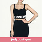 JB womens sleeveless bodycon lettered crop tank top Black White