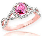 Rose Gold Pink Topaz Birthstone Infinity Ring with Diamon...