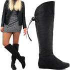 WOMENS LADIES KNEE THIGH HIGH OVER THE KNEE LOW PLATFORM HEEL STRETCH BOOTS SIZE