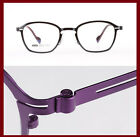 Men women Eyeglass frames Vintage square Metal optical Light WT black/purple New