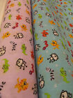 "Nursery Fabric Animal Design  Lilac or Turquoise polycotton 45"" Wide £1.95 metre"