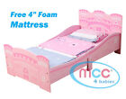 MCC&reg; Girls Pink Castle Princess Junior Toddler Kids Bed &amp; 3&quot; Mattress Made in UK <br/> RRP: &pound;129✔ Mattress Made in the UK✔ Warranty✔