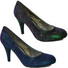 LADIES WOMENS HIGH HEEL EVENING PARTY PROM WEDDING ROUND TOE COURT SHOES SIZE