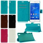 PU Leather Filp Wallet Magnetic Clasp Hard Plastic Cover Case For Sony Xperia Z5