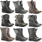 WOMENS LADIES MILITARY ANKLE WORKER ARMY FLAT LACE UP COMBAT BIKER BOOTS SIZE