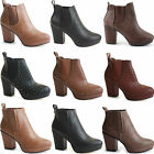Womens High Heel Boots Ladies Platform Ankle Chelsea Low Block Booties Shoe Size