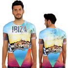 Ibiza Beaches 3D Print Fitted T-Shirt Urban Life Monkey Business Hip Hop Top