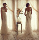 Vintage Lace White/Ivory Wedding Dresses Bridal Party Gown Custom Size 2-28