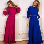 Fashion New Arrival Women Elegant Vintage Floor Length Long Casual Shirt Dress
