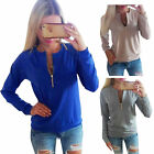 NEW Jump Women Zipper Long Sleeve Pullover  Sweater Knitwear cotton Top Blouse