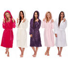 FOREVER DREAMING Ladies Womens Soft Hooded Dressing Gown Flannel Fleece Robe