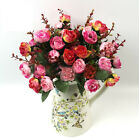 New 21 Heads Artificial Rose Silk Flower Leaf Home Room Party Wedding Decoration
