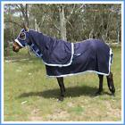 LOVE MY HORSE 3'3 - 4'9 600gsm Navy Cotton Show Rug Hood + Tail Bag Pink or Blue
