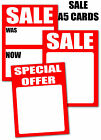 Sale Tickets/Cards A5 for retailers write on you choose per 50 Pack Various