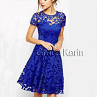 Sexy Blue Women Lace Summer Casual Party Evening Cocktail Bodycon Mini Dress