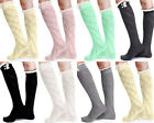YW Women's Leg Warmers Lace Trim Boot Socks Button Knit Crochet Knee High Socks