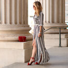 Elengant Women Sexy Long Tunic Shirt Dress Maxi Striped Long Boho Shirt Dress