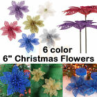 "6"" Glitter Hollow Wedding Party Decor Christmas Flowers Xmas Tree Decorations ST"