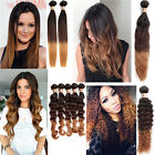 4Styles Straight/Wavy/Curly Ombre Human Hair Extension Bundle Hair Weft 1B/4/28#