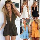 Sexy Womens V neck Backless Party Jumpsuit Playsuit Mini Dress Rompers Sundress