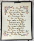 Vintage Framed Needlework Embroidery Religious The Lord's Prayer