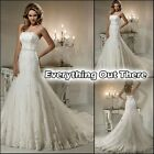 Bridal Gowns Dress Evening Party Lace Up Back Zipper Beaded Custom Size 8 10 12+