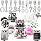 Birthday Charms Number Pendant Charm Beads Fit Silver European Charm Bracelets