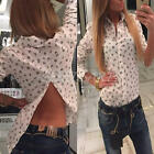 Girls Anchor Turn-down Collar Back Slit Long Sleeve Blouse Shirt Tops 3 Sizes