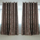 STON Pair Ready Made Brown Blockout Home Door Window Curtains Eyelet Panel Drape