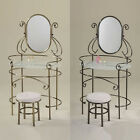 2PC Antique Brass Black Nickel Frost Tempered Glass Top Polished Edge Vanity Set