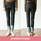 JB womens pants raw denim straight roll-up jeans S M