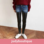 JB womens unique pants denim faux leather mix-match skinny jeans