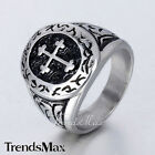Punk Gothic Carved Cross Black Silver Tone 316L Stainless Steel Mens Signet Ring