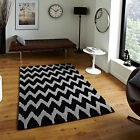 MEDIUM MODERN WAVE PATTERN BLACK GREY 1-2CM THICK HONG KONG ACRYLIC RUNNER RUGS