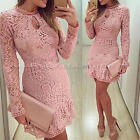 Women Long Sleeve Pink Round Neck Prom Ball Cocktail Party Hollow Lace Dress