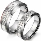 Silver Tungsten Carbide CZ Wedding Band Men's Women's Engagement Bridal Ring