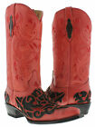 womens red black engraved floral western leather cowboy cowgorl boots rodeo new