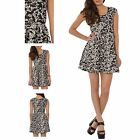 Hidden Fashion Ladies Sleeveless Brocade Print Black White Swing Dress