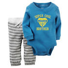"Carter's Boys 2 Piece Blue ""Super Cool Little Brother"" Long Sleeve Bodysuit & St"