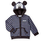 Disney Baby Boys Black/Navy Stripe Long Sleeve Zip Up Mickey Mouse Hoodie with 3