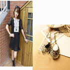 Fashion Women Jewelry Chain Decor Carved Gemstone Drop Pattern Necklace MO