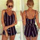 Women Strappy Backless Stripe Club Party Gown Dress Jumpsuit Shorts Romper SH