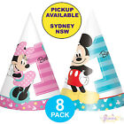 MICKEY OR MINNIE MOUSE 1ST BIRTHDAY PARTY SUPPLIES 8 CONE HATS DECORATIONS