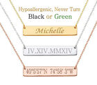 Personalized Name Bar Necklace Custom Engraved Any Name Necklace Stainless Steel