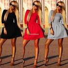 Womens Bodycon Slim Dresses Evening Party Evening Casual 3/4 Sleeve Skater Dress